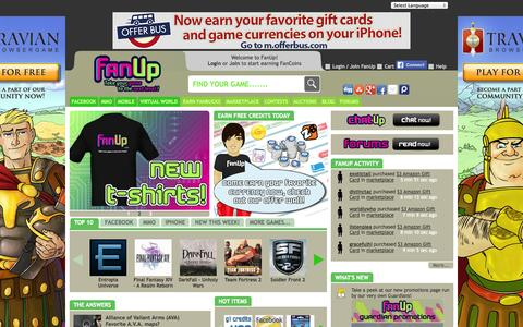 Screenshot of Home Page fanup.com - Online Gaming Community | Game Tips | Earn or Buy Game Currency - FanUp Community - captured Sept. 19, 2014