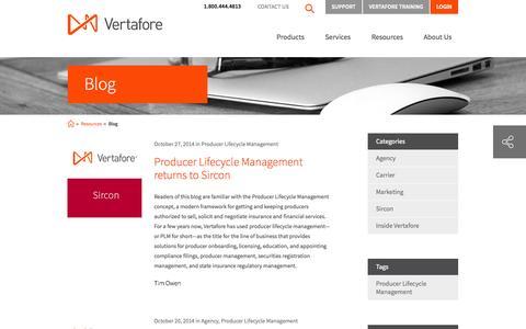 Screenshot of Blog vertafore.com - Vertafore Blog - Insurance Software blog for Agencies, Carriers, and MGAs | Vertafore - captured Oct. 29, 2014