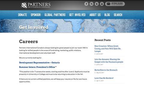 Screenshot of Jobs Page partnersinternational.ca - Partners International Canada  Careers - Partners International Canada - captured July 14, 2017