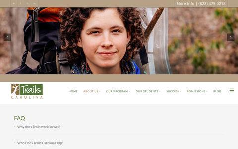 Screenshot of FAQ Page trailscarolina.com - Trails Carolina - Wilderness Program for Struggling Teens - captured Oct. 12, 2019