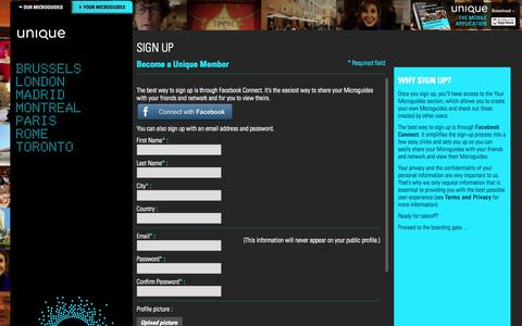 Screenshot of Signup Page unique-guides.com - Unique - Microguides - captured Sept. 17, 2014