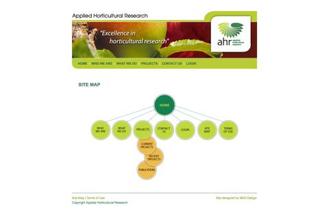 Screenshot of Site Map Page ahr.com.au - AHR: Applied Horticultural Research - captured Oct. 4, 2014