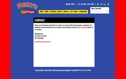 Screenshot of Contact Page fuzzystacoshop.com - Contact | Fuzzy's Taco Shop - captured Sept. 23, 2014