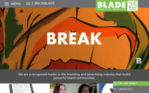 Screenshot of Home Page bladecreativebranding.com - Blade Creative Branding - Toronto Branding & Advertising Agency - captured Aug. 29, 2019