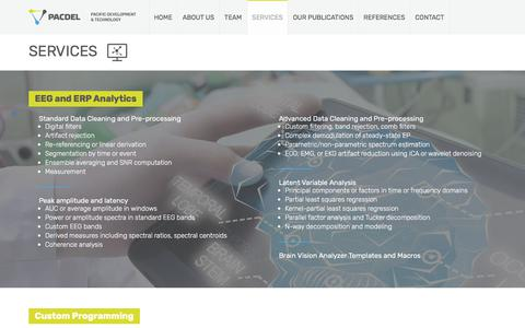 Screenshot of Services Page pacdel.com - SERVICES - Pacific Development & Technology - captured Sept. 26, 2018