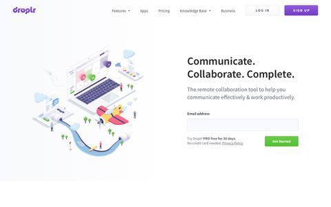 Screenshot of Home Page droplr.com - Droplr™ – Capture + explain your ideas. Sign up for FREE - captured Jan. 12, 2018