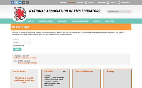 Screenshot of Login Page site-ym.com - National Association of EMS Educators - captured Jan. 10, 2018