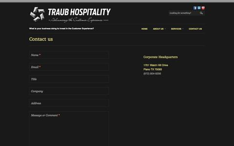 Screenshot of Contact Page traubhospitality.com - Contact us | Traub Hospitality - captured Oct. 9, 2014