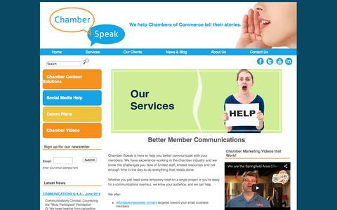 Screenshot of Services Page chamberspeak.com - Better Member Communications for Chambers of Commerce | Chamber Speak - captured Oct. 2, 2014