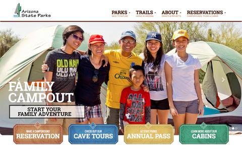 Screenshot of Home Page azstateparks.com - Arizona State Parks - captured Oct. 18, 2016