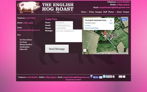 Screenshot of Contact Page theenglishhogroastcompany.co.uk - Contact The English Hog Roast Company | English Hog Roast Company - captured Sept. 30, 2014
