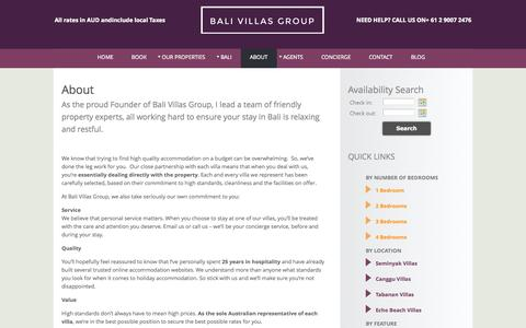 Screenshot of About Page balivillasgroup.com - Bali Villas Group – Bali Accommodation - captured Oct. 26, 2014