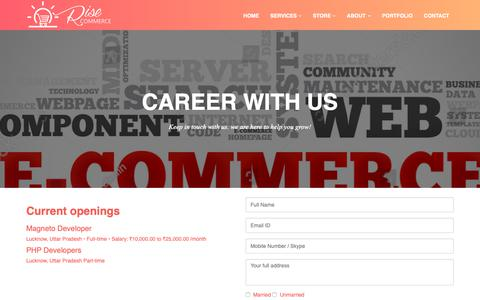 Screenshot of Jobs Page risecommerce.com - Career with Rise Commerce and Ask About any Ecommerce Questions for FREE! - captured Oct. 22, 2018