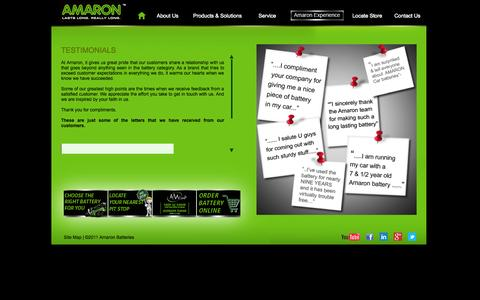 Screenshot of Testimonials Page amaron.in - Amaron - Testimonials - captured Sept. 23, 2014
