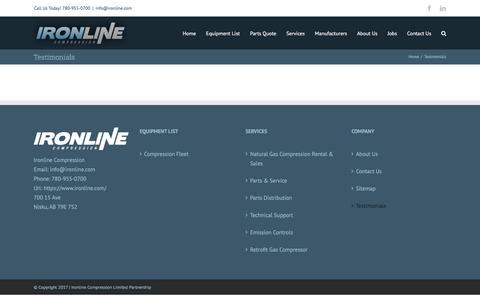 Screenshot of Testimonials Page ironline.com - Testimonials - IronLine Compression - captured Oct. 15, 2017