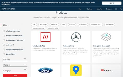 Screenshot of Products Page what3words.com - Products - What3words - captured July 16, 2019