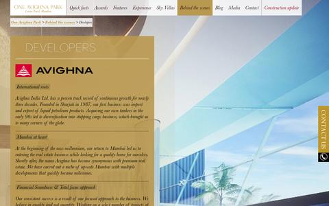 Screenshot of Developers Page oneavighnapark.com - Know More about Premium Real Estate Developers - Avighna Group - captured Sept. 30, 2014