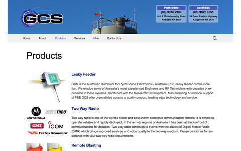 Screenshot of Products Page gcs.com.au - Products | Global Communication Services - captured Nov. 2, 2014
