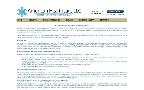 Screenshot of Privacy Page ahcprovider.com - .: American Healthcare :. - captured Feb. 6, 2016