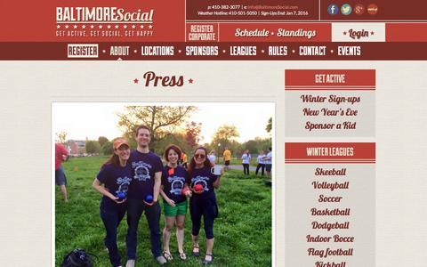 Screenshot of Press Page baltimoresocial.com - Press - Baltimore Social - captured Dec. 29, 2015