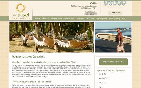 Screenshot of FAQ Page vajrasoltravel.com - FAQ   Costa Rica Yoga Retreats   Vajra Sol - captured Oct. 27, 2014