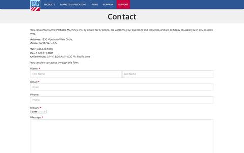 Screenshot of Contact Page acmeportable.com - Contact | ACME Portable - captured Sept. 19, 2014