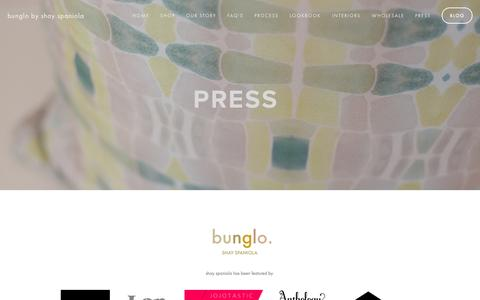 Screenshot of Press Page bunglo.co - press — bunglo by shay spaniola - captured Sept. 30, 2014