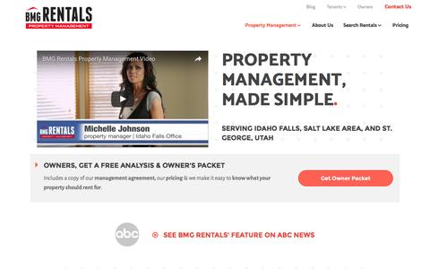 Screenshot of Home Page bmgrent.com - BMG Rentals Property Management – Your Property is Our Priority - captured Nov. 21, 2016