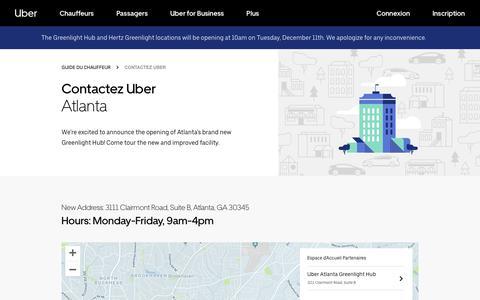 Screenshot of Contact Page uber.com - Espaces d'accueil partenaires à Atlanta   Uber - captured Dec. 17, 2018