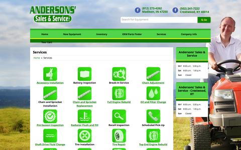 Screenshot of Services Page andersonssales.com - Services Andersons' Sales & Service - Crestwood, KY Crestwood, KY (502) 241-7222 - captured Feb. 6, 2016