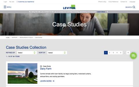 Screenshot of Case Studies Page leviton.com - Case Studies - captured Feb. 25, 2018