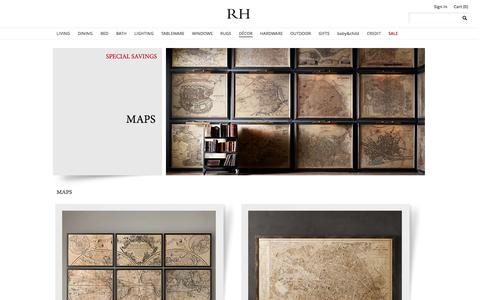 Screenshot of Maps & Directions Page restorationhardware.com - Maps | Restoration Hardware - captured Oct. 28, 2014