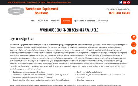 Screenshot of Services Page warehouse-equipment-solutions.com - Warehouse Equipment Services - Grand Prairie, TX - Warehouse Equipment Solutions - captured July 8, 2018