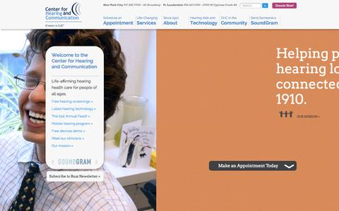 Screenshot of About Page chchearing.org - Center for Hearing and Communication home | NYC + FL - captured Nov. 1, 2014