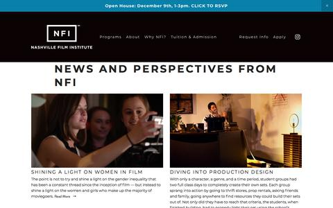 Screenshot of Press Page nfi.edu - News — Nashville Film Institute - captured Nov. 22, 2017