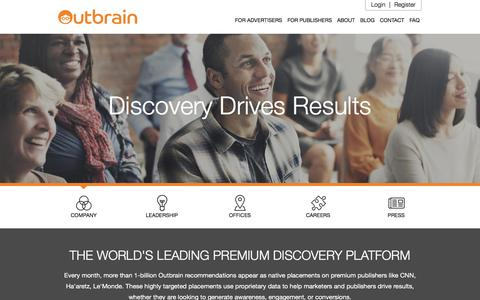 Screenshot of About Page outbrain.com - Learn More About Our Company | Outbrain.com - captured April 18, 2018