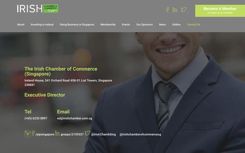 Screenshot of Contact Page irishchamber.com.sg - Contact Us | Irish Chamber of Commerce - captured Oct. 15, 2017
