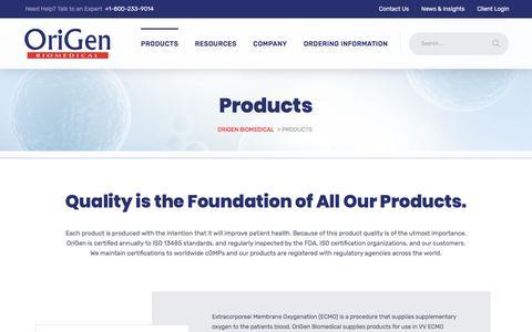 Screenshot of Products Page origen.com - Products - Origen Biomedical - captured June 11, 2018