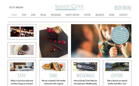 Screenshot of Home Page sandycove-hotel.co.uk - Sandy Cove Hotel | 3* Luxury Overlooking the Sea - captured Dec. 21, 2015