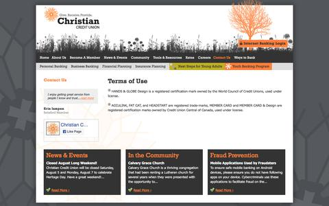 Screenshot of Terms Page christiancu.ca - Terms of Use   Contact Us   Christian Credit Union - captured July 30, 2017