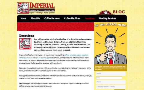 Screenshot of Locations Page imperialcoffee.com - Imperial Office Coffee Service | Toronto & Ontario Locations | - captured Oct. 4, 2014