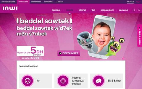Screenshot of Services Page inwi.ma - Les services inwi | Portail inwi - captured Nov. 25, 2015