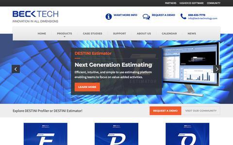 Screenshot of Home Page beck-technology.com - Beck Technology-Construction Estimating Software-Call (888) 835-7778 - captured Oct. 5, 2018