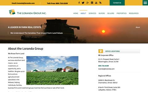 Screenshot of About Page loranda.com - Farm Land Valuation Specialists |The Loranda Group |Midwest Farm Land Sales and Agricultural Land Specialists - captured Dec. 1, 2016