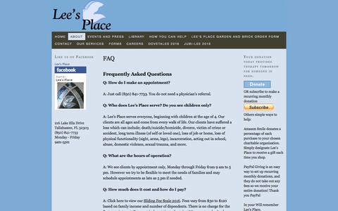 Screenshot of FAQ Page leesplace.org - FAQ — Lee's Place - captured Nov. 6, 2016