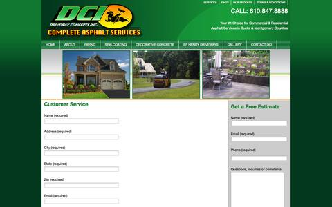 Screenshot of Support Page drivewayconceptsinc.com - Customer Service | DCI - captured Sept. 30, 2014