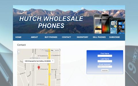 Screenshot of Contact Page hutchwholesalephones.com - Contact - Hutch Wholesale Phones - captured Feb. 2, 2016