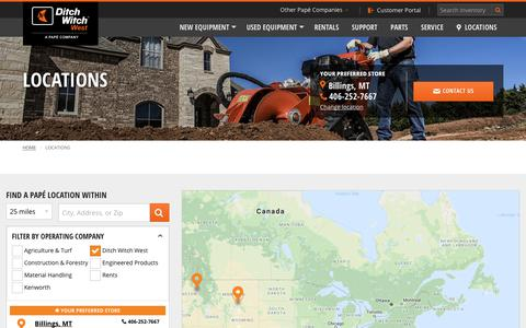 Screenshot of Contact Page Locations Page ditchwitchwest.com - Dealership Locations | Ditch Witch West - captured Oct. 25, 2018