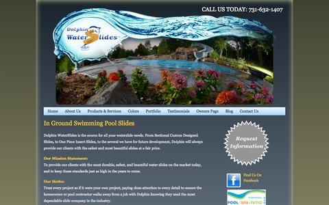 Screenshot of About Page dolphinwaterslides.net - Custom Swimming Pool Slides & In Ground Swimming Pool Slides | Dolphin Waterslides - captured Sept. 30, 2014