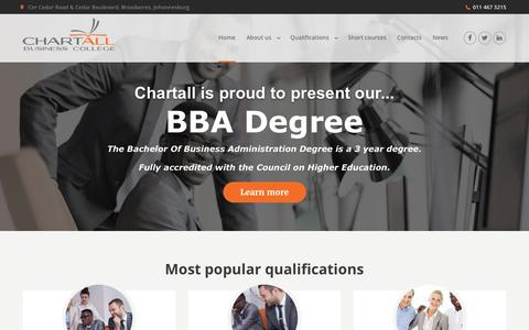 Screenshot of Home Page chartall.co.za - Chartall Business College - Home page - captured July 25, 2017